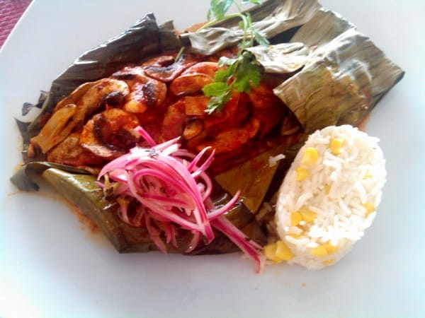Seafood Steamed in Banan a Leaf
