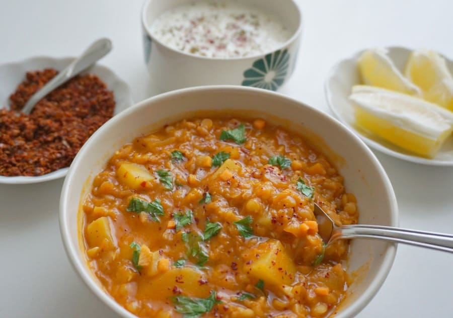 Red Lentil And Vegetable Soup With Chive Yogurt Recipe ...