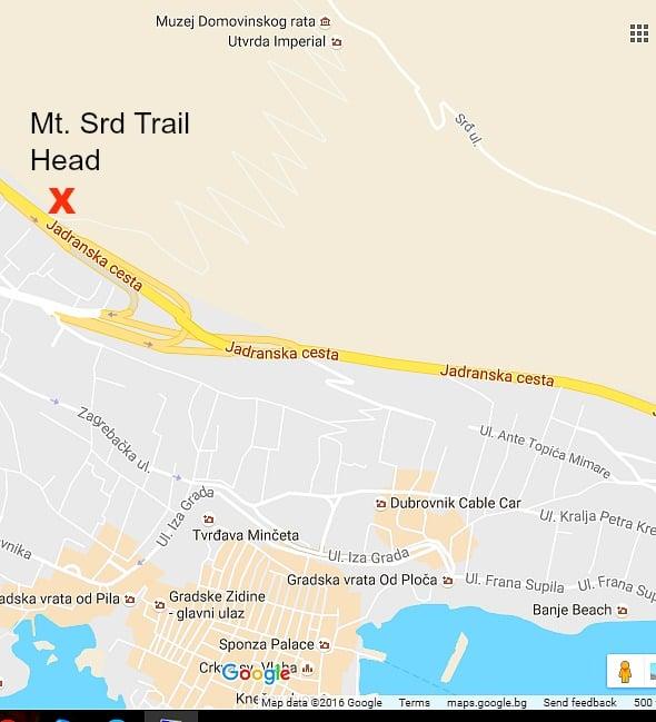 Mt. Srd Trail Head