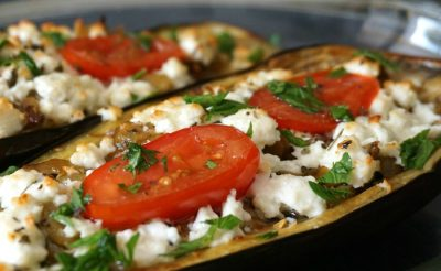 Baked Eggplant with Feta and Tomato
