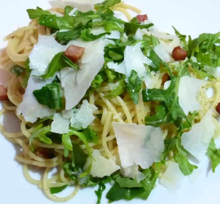 Spaghetti with Pancetta, Pecorino and Arugula
