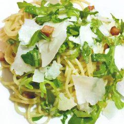 Pasta with Pancetta, Pecorino and Arugula
