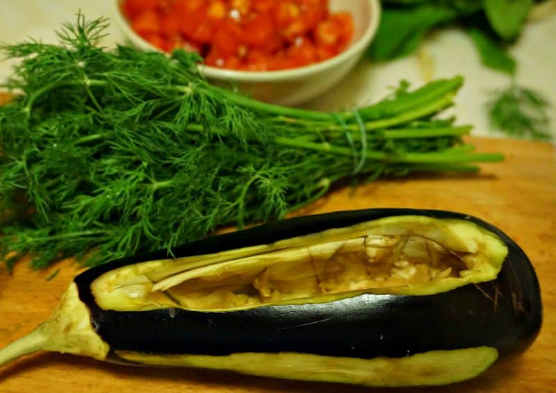 Eggplant with cavity for stuffing