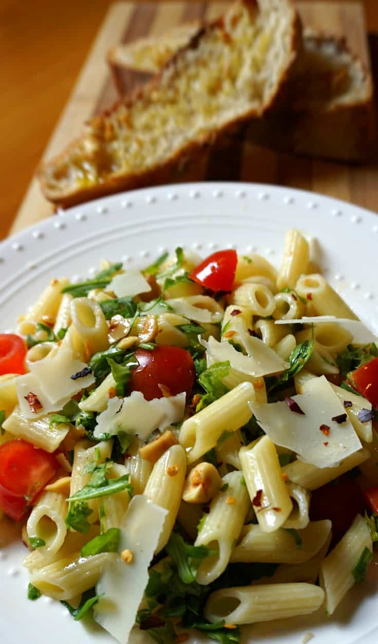 Penne with Arugula, Toasted Hazelnuts and Parmesan