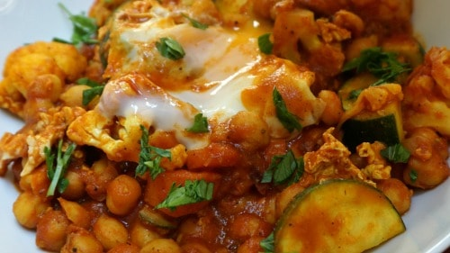 Curried Vegetables with Poached Egg