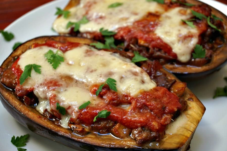 Eggplant Stuffed with Sausage and Provolone