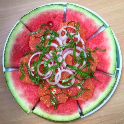 Watermelon Orange and Onion Salad with Balsamic Vinegar
