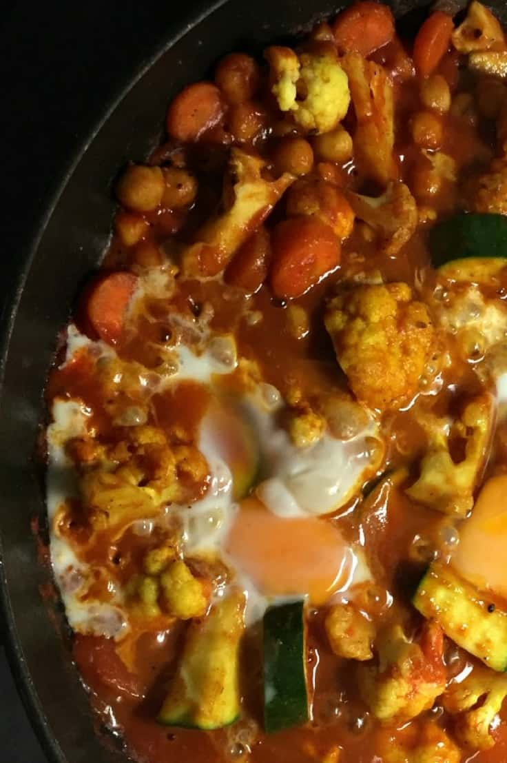 Curried Vegetables in Tomato Gravy with Poached Eggs