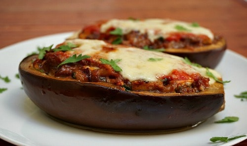 stuffed eggplant with sausage
