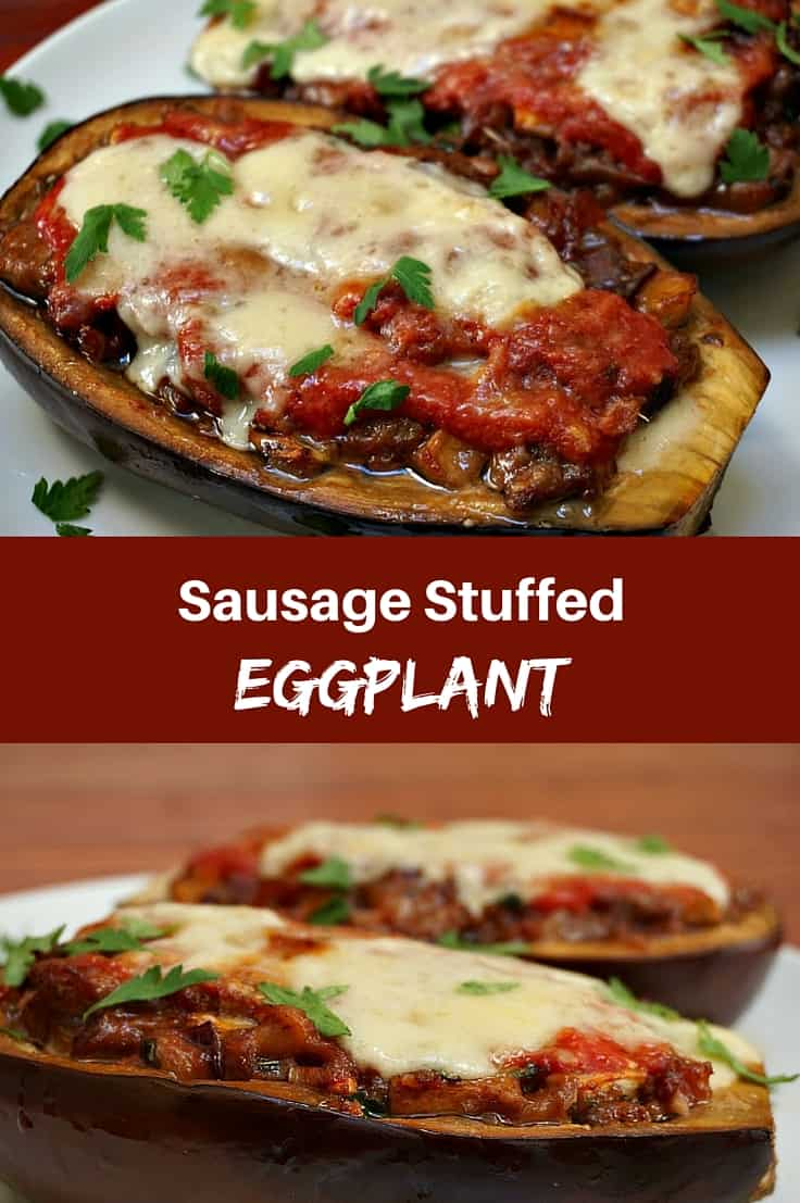 Stuffed Eggplant with Sausage and Provolone