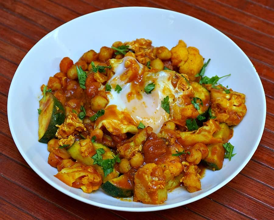 Curried Vegetables with Poached Eggs