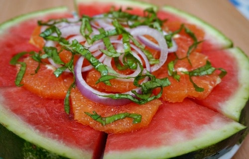 Watermelon Orange and Onion Salad