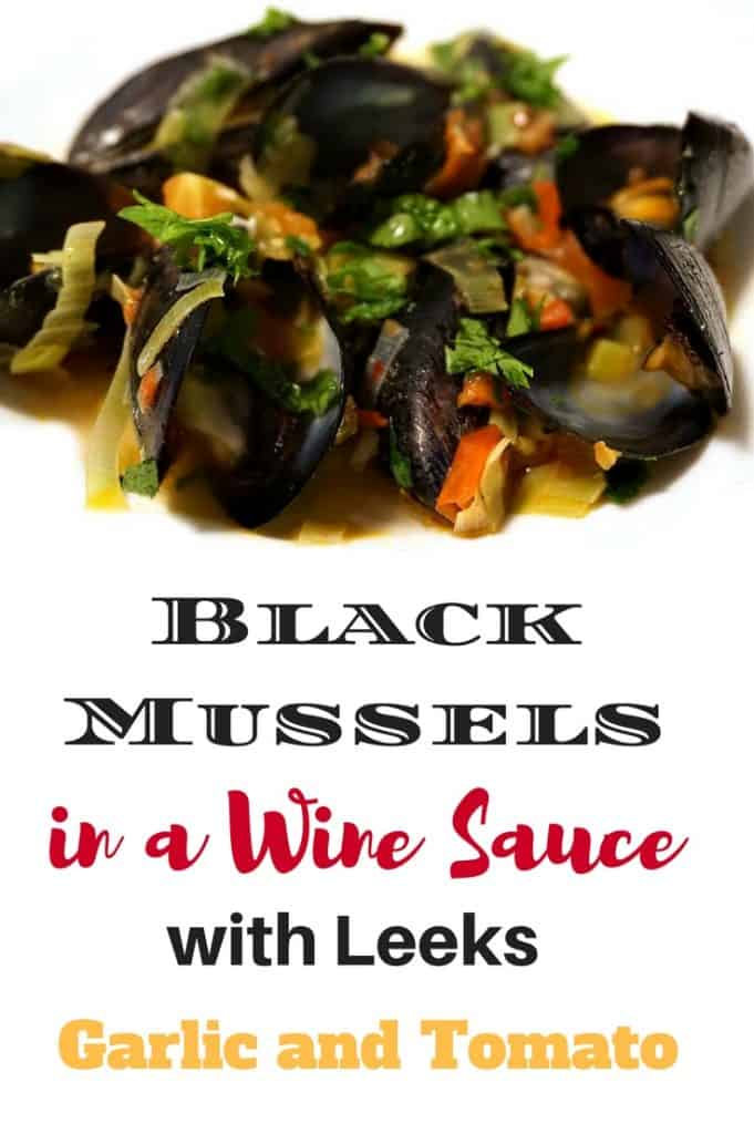black mussels with leeks and wine