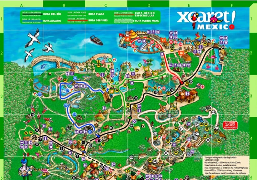 Xcaret Map
