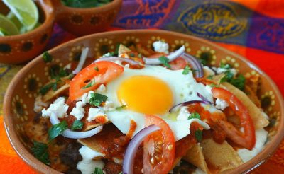 Egg Chilaquiles with Black Beans