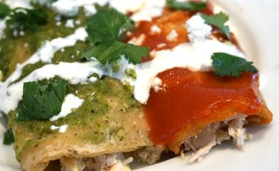 Red and Green Chicken Enchiladas
