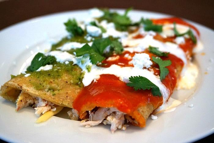 Red and Green Chicken Enchiladas