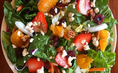 fruit and nut salad with feta cheese