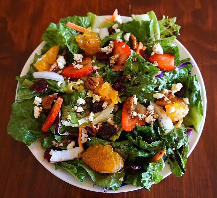 fruit nut salad with feta and balsamic vinegar