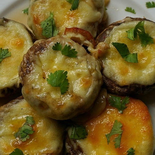 Georgian Stuffed Mushrooms with Sulguni Cheese