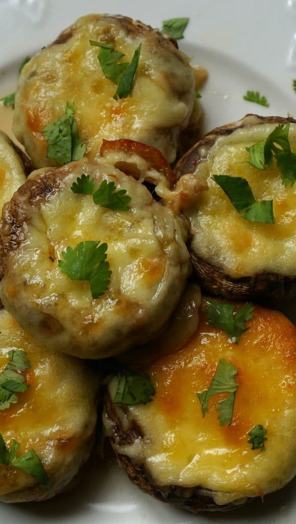Georgian Sulguni Stuffed Mushrooms