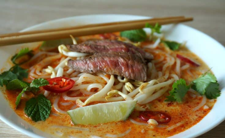 Malaysian Curry Beef Noodle Soup - Laksa