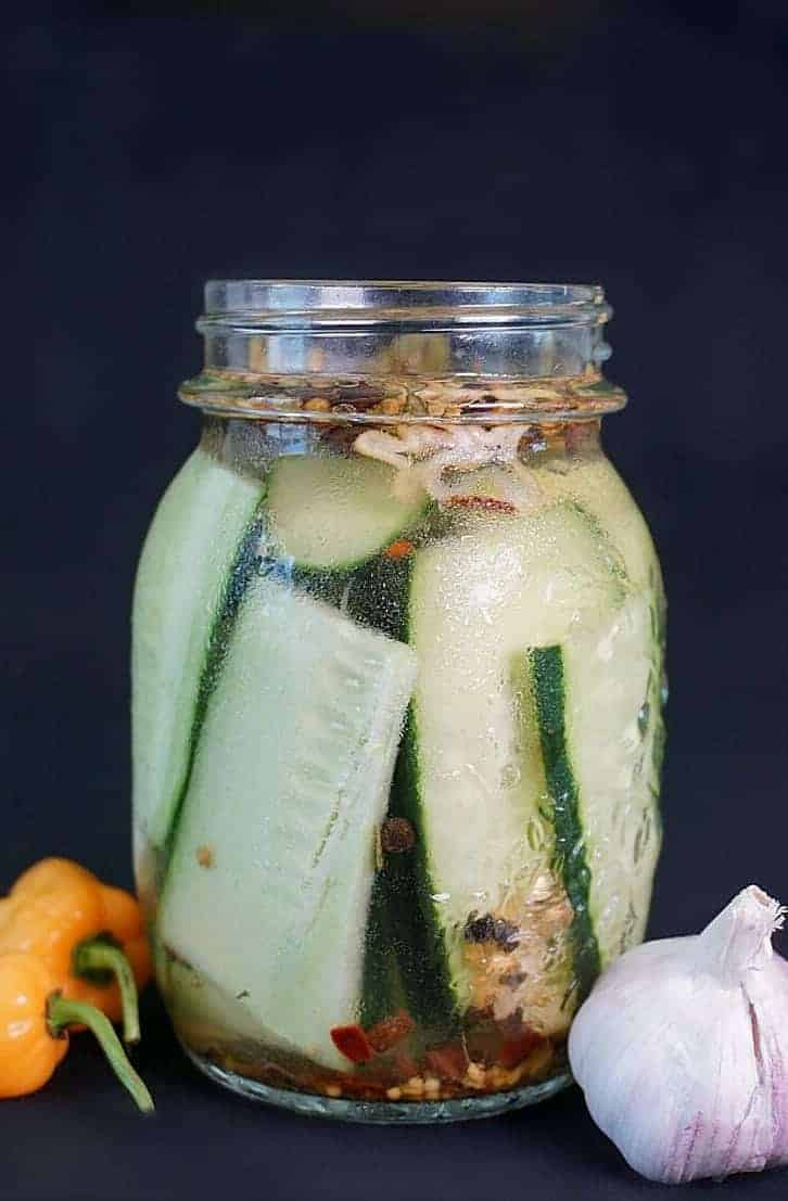 Homemade Habanero Pickles with Garlic