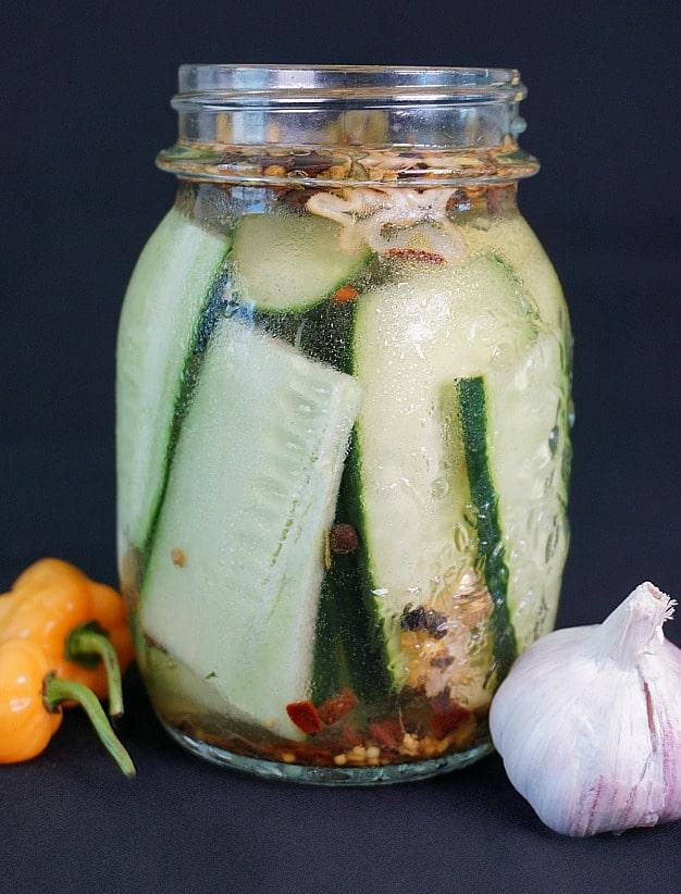 Homemade Habanero Pickles with Garlic