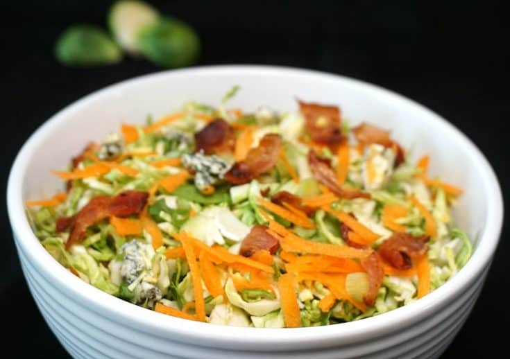 Brussel Spout Slaw with Bacon and Blue Cheese